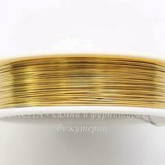 Проволока медная 0,4 мм, цвет - темное золото, примерно 12 метров