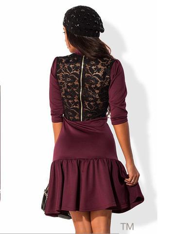 Платье с кружевной спиной и воланом, фиолетовое 1