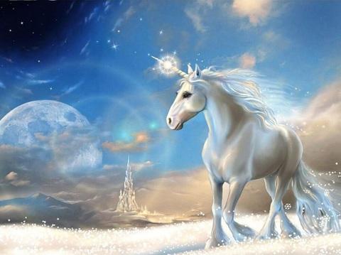 Алмазная Мозаика + Багет 40x50 Единорог в сказочном мире