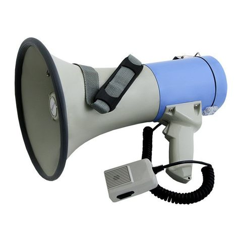 MG-220SW ручной мегафон 25Вт (50Вт), микрофон-тангента, сирена, свисток, разъем 12В