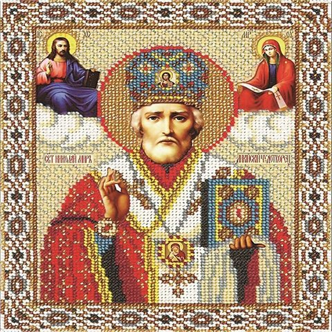 Алмазная Мозаика 30x40 Икона Николай Чудотворец (арт. BDF73527)