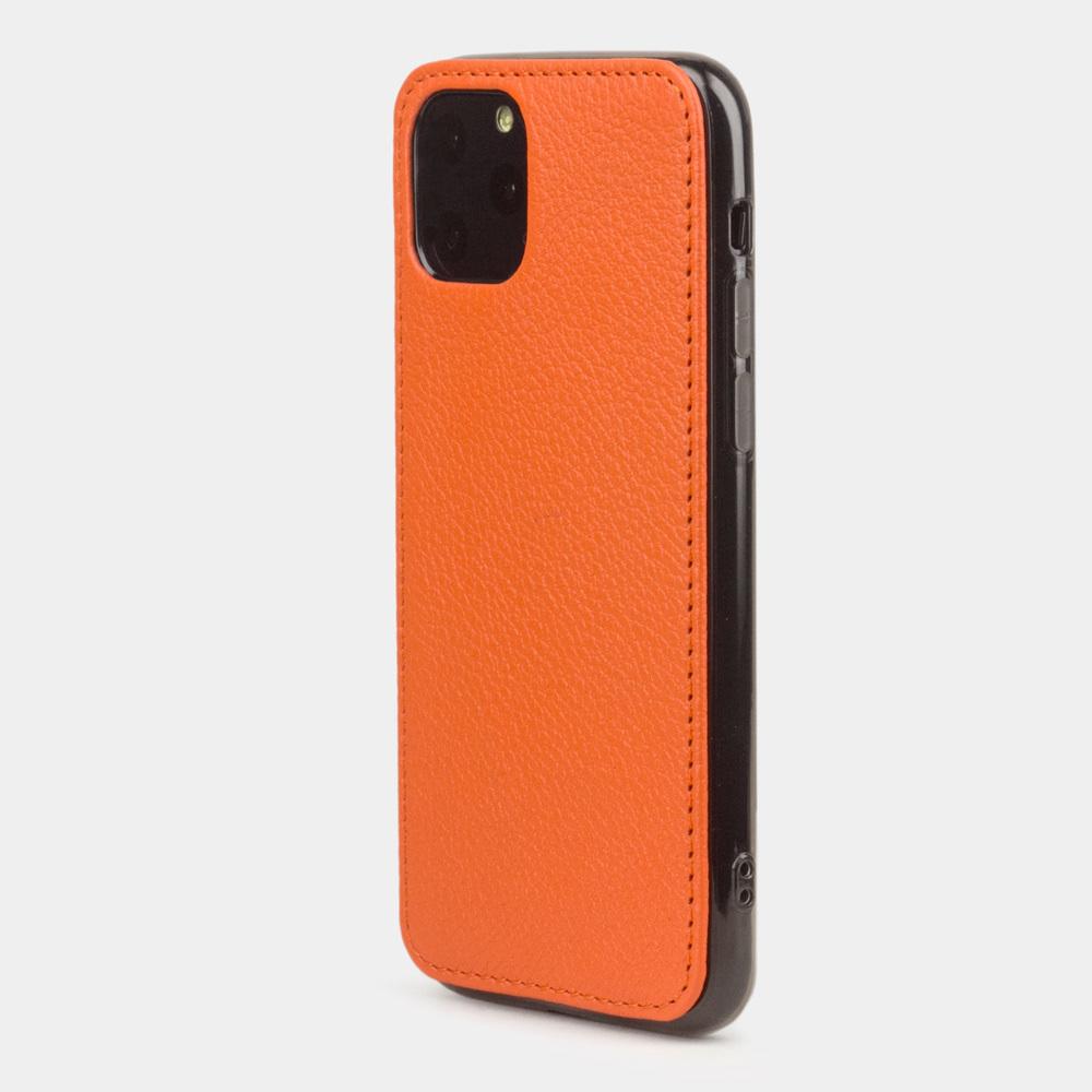 Чехол-накладка для iPhone 11 Pro из натуральной кожи теленка, оранжевого цвета