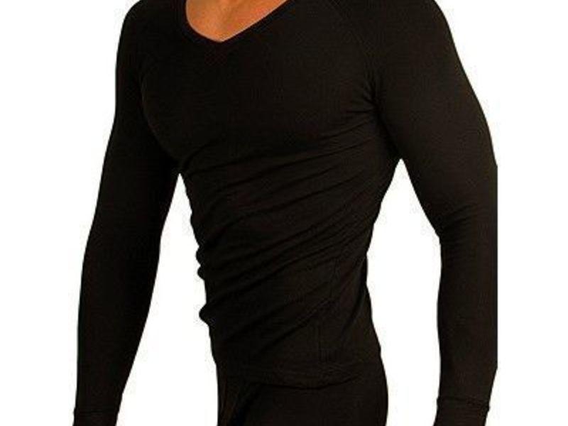 Мужская термофутболка черная  с длинным рукавом v-образным вырезом  Doreanse 2980