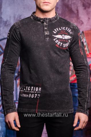 Черная мужская футболка лонгслив от Affliction.