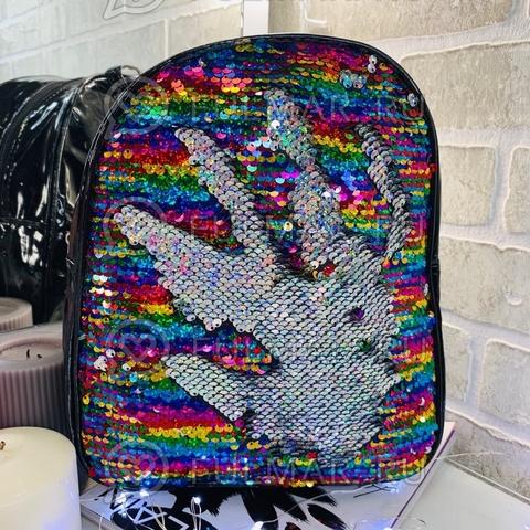 Рюкзак детский чёрный с пайетками меняющий цвет Радужный-Серебристый