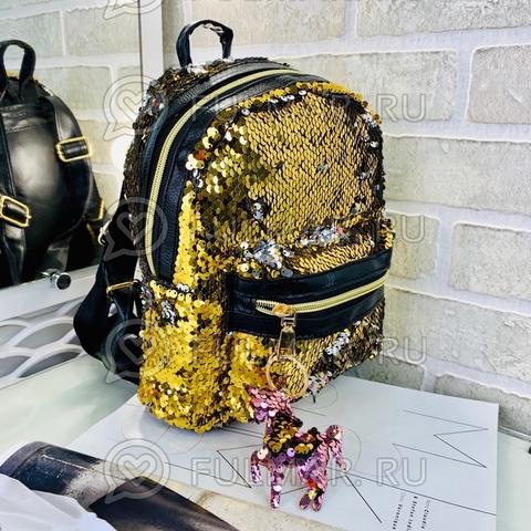 Рюкзак в двусторонних пайетках меняет цвет Золотистый-Зеркальный с брелком Единорогом (26x20x10 см) Классика