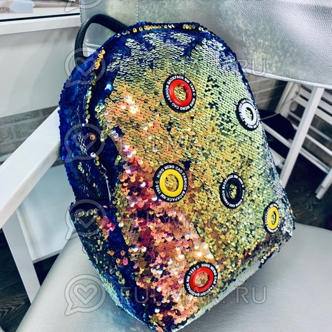 Рюкзак большой для девочки в пайетках Золотистый с зелеными переливами-Синий