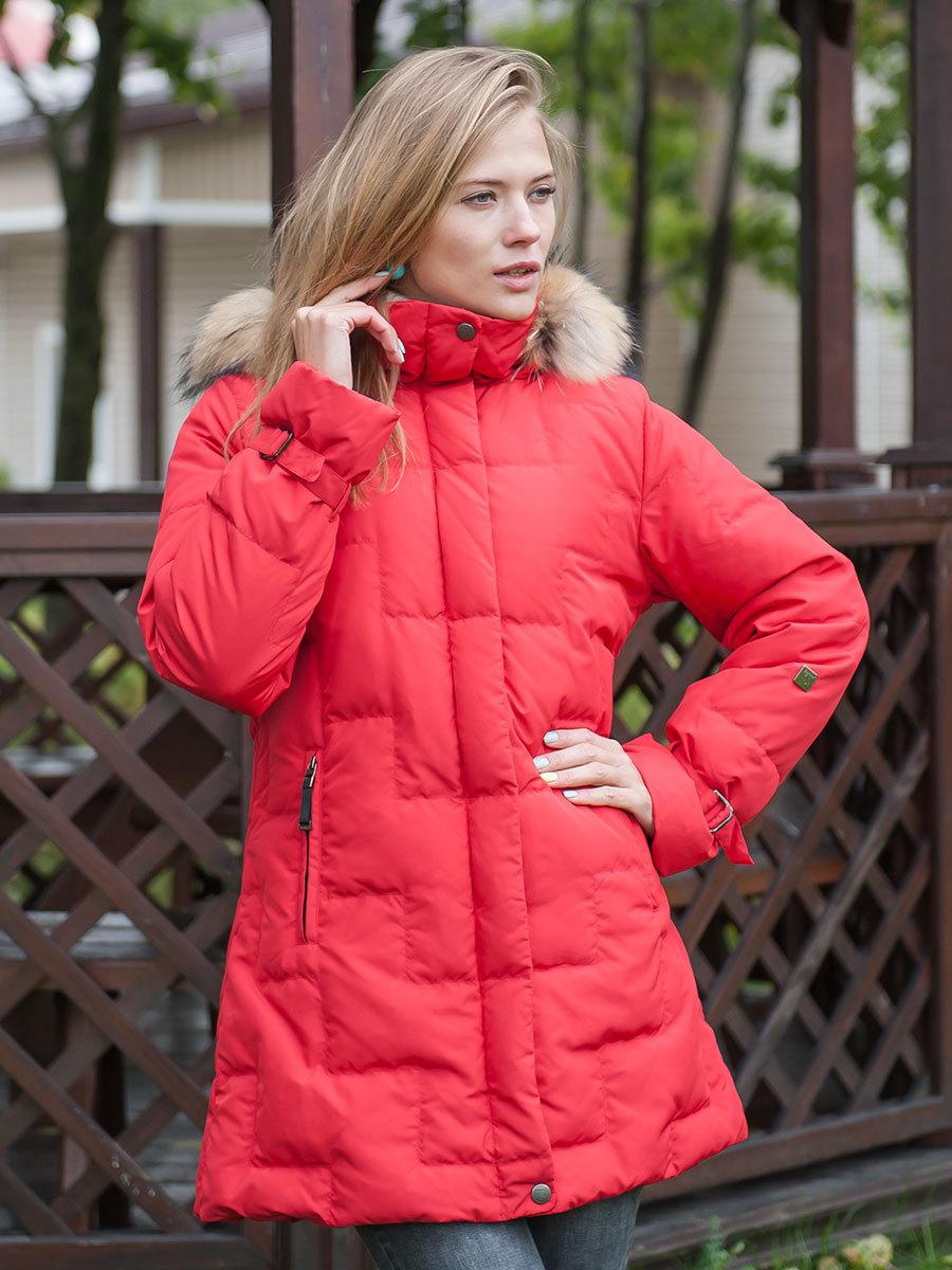 Joutsen пуховик Jenny с мехом красный - Фото 1