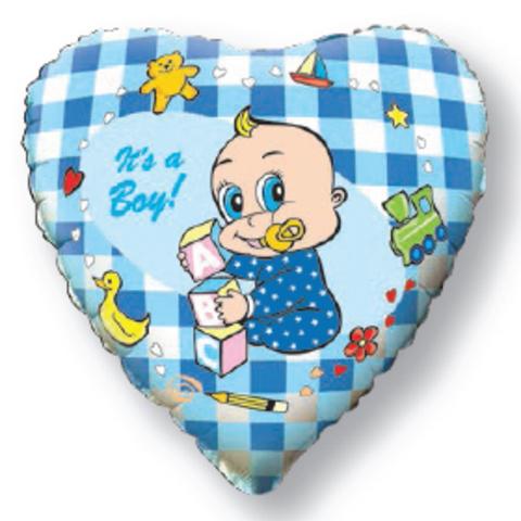 Фольгированное сердце Новорожденный мальчик