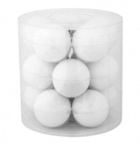 Набор шаров 15шт. в тубе (стекло), D6см, цвет: белые