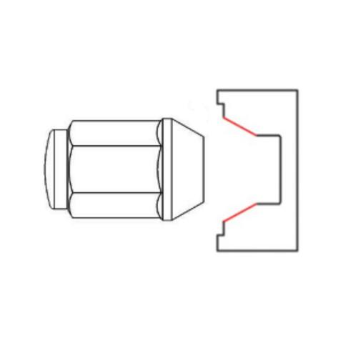 Гайка колёсная М12x1.5 длина=27мм ключ=19мм конус 60º открытая хром