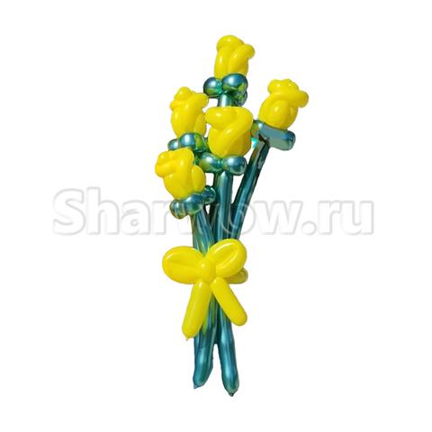 Букет роз из воздушных шариков, желтый и зелёный хром
