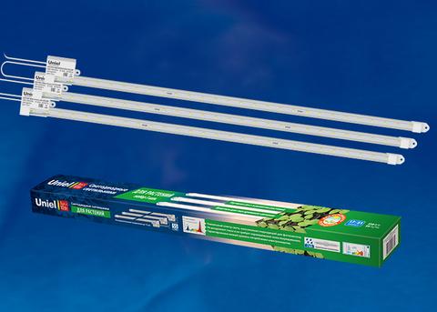 ULY-P90-10W/SPFR/K IP65 AC220V CLEAR KIT03 Светильник для растений светодиодный линейный, 600мм. Спектр для фотосинтеза. В составе набора из 3-х штук. TM Uniel.