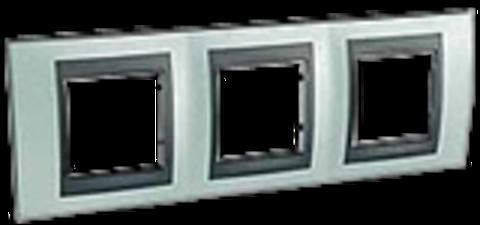 Рамка на 3 поста. Цвет Флюорит-графит. Schneider electric Unica Top. MGU66.006.294