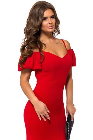Длинное вечернее платье в пол, красное 1
