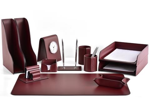 Настольный набор руководителя 12 предметов из кожи, цвет бордо