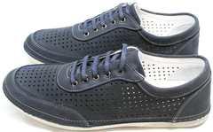 Синие кроссовки из нубука мужские летние Vitto Men Shoes 3560 Navy Blue.
