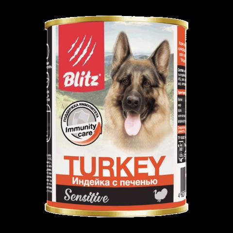 Blitz Консервы для собак с индейкой и печенью