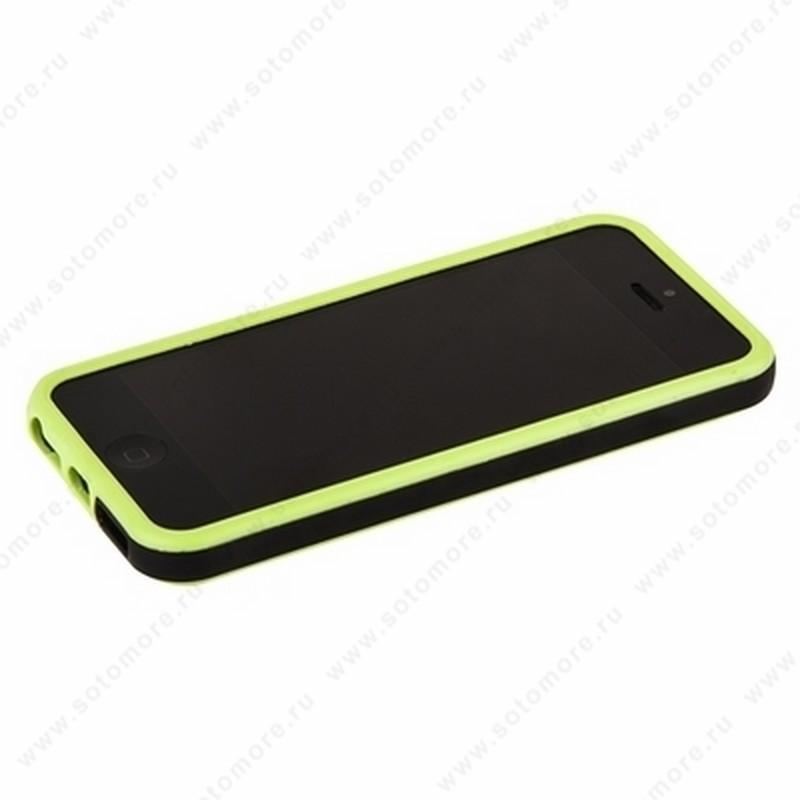 Бампер для iPhone SE/ 5s/ 5C/ 5 зеленый с черной полосой
