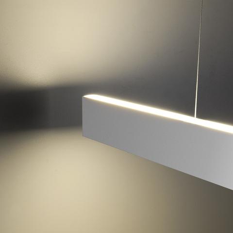 Линейный светодиодный подвесной двусторонний светильник 103см 40Вт 6500К матовое серебро 101-200-40-103