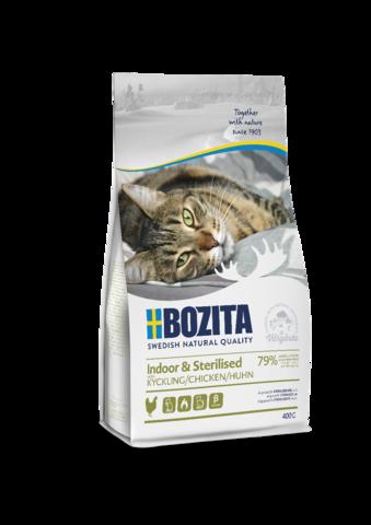 Bozita Indoor/Sterilized корм для стерилиз. растущих, взрослых и малоподв. кошек с курицей 400г