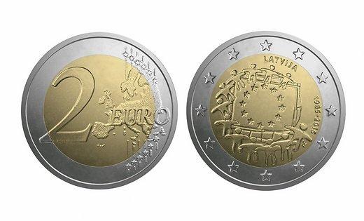 2 евро 2015 Латвия - 30 лет флагу Европейского союза