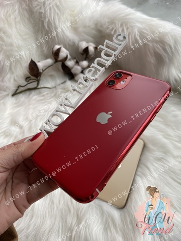 Чехол iPhone 11 Pro Max Glass Silicone Case Logo matte /red/
