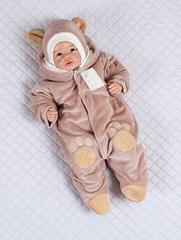 Комбинезон с шапкой для малышей Little Bear молочный шоколад
