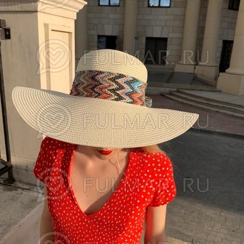 Соломенная женская шляпа с большими полями и бантом-лентой (цвет: слоновая кость)