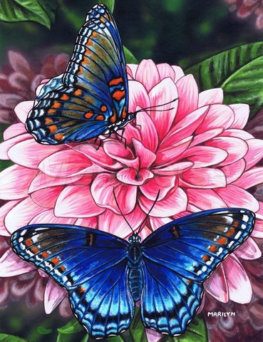 Алмазная Мозаика 30x40 Синие бабочки на цветах