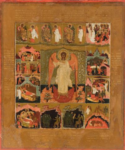 Икона Архангел Михаил с деяниями на дереве на левкасе мастерская Иконный Дом