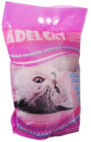 наполнитель Adel Cat силикагель для кошек с розовыми гранулами 8л 8 л