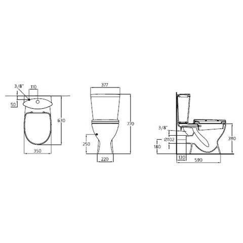 Унитаз напольный с бидеткой, бачком и сиденьем Ideal Standard Ocean Junior W903801 схема