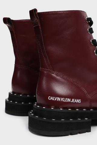 Женские бордовые кожаные ботинки NANNIE Calvin Klein