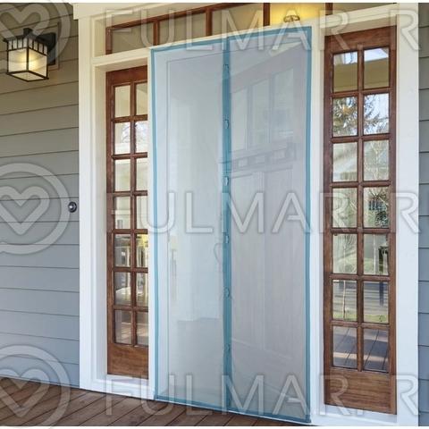 Москитная сетка на балконную и входную дверь на магнитах 90x210 см Синяя