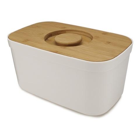 Хлебница пластиковая с разделочной доской из бамбука белая