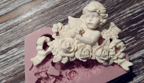 Силиконовый молд № 2064 Ангел с цветами