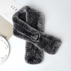 Вязаный меховой шарф-воротник (кролик) серый