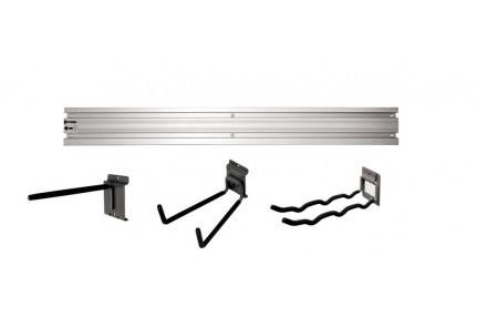Алюминиевый рельс L 1200 мм для хранения инструментов и инвентаря (крепление к стене).