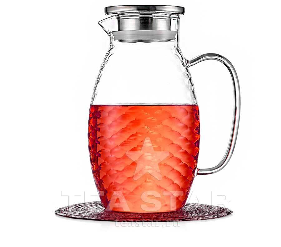 Чайники заварочные стеклянные Кувшин стеклянный для воды 1,8 л с крышкой для холодных и горячих напитков Kuvshin-dlia-soka-i-kokteiley1800ml.jpg