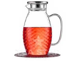 Кувшин стеклянный для воды 1,8 л с крышкой для холодных и горячих напитков