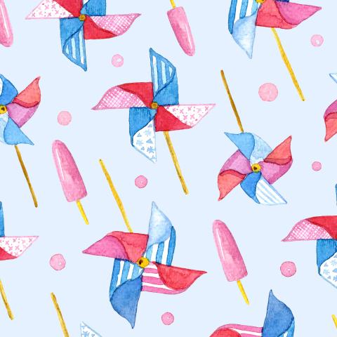 Вертушки на голубом фоне