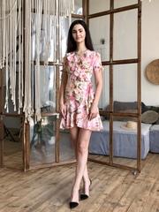 Марта. Летнее платье на запах с воланами. Розовые цветы