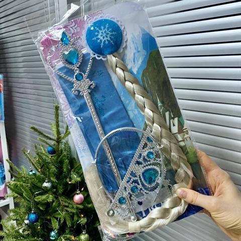Карнавальный детский набор аксессуаров Эльза Холодное сердце: косы на заколке, перчатки , диадема, волшебная палочка