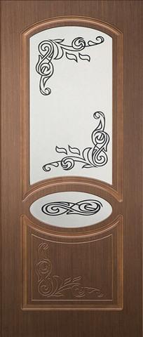 Дверь Каролина-1 ДО (крупный орех, остекленная шпонированная), фабрика Румакс