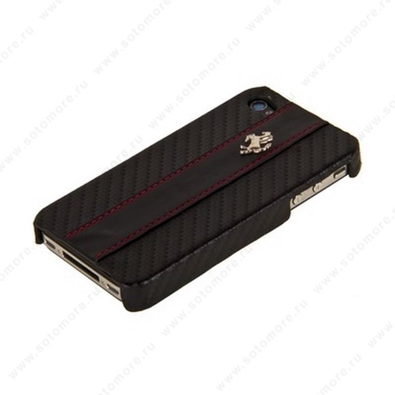 Накладка Ferrari для iPhone 4s/ 4 черный карбон с кожаной полосой красные нитки