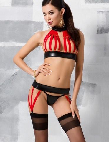 Черный эротический комплект с красными ремешками Aziza