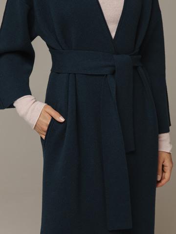 Женский темно-зеленый кардиган на поясе из шерсти и кашемира - фото 2