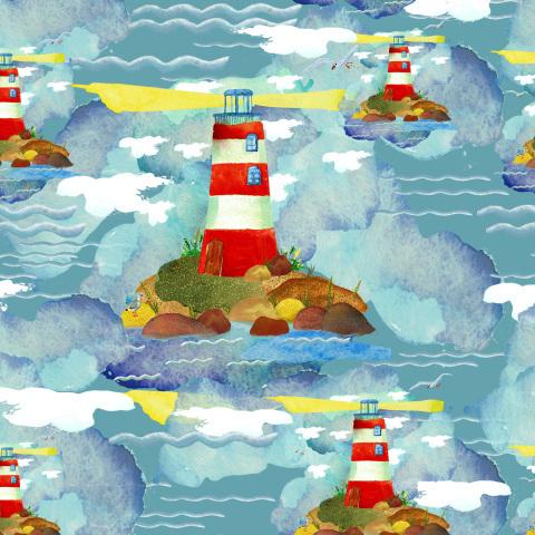 Маяк в морских волнах