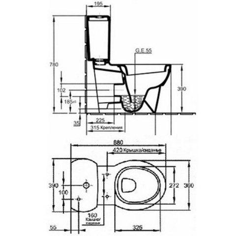 Унитаз напольный с бачком Jacob Delafon Ove E1540+E1558 схема